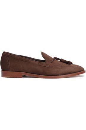 MANSUR GAVRIEL Tassel-trimmed suede loafers