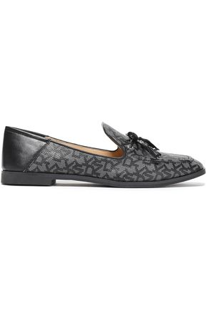 DKNY Tasseled logo-print PVC and leather loafers