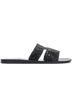 ANCIENT GREEK SANDALS Sequined leather slides