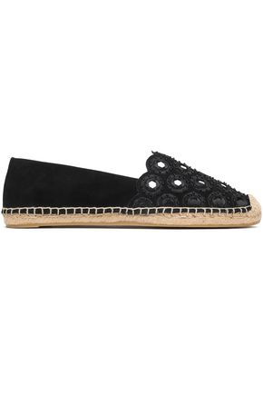 TORY BURCH Embellished suede espadrilles