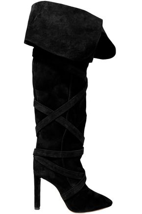 SAINT LAURENT Meurice スエード 膝丈ブーツ