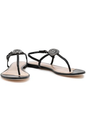 TORY BURCH Crystal-embellished leather sandals