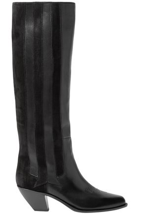 GOLDEN GOOSE DELUXE BRAND Nebbia paneled suede and embroidered leather knee boots