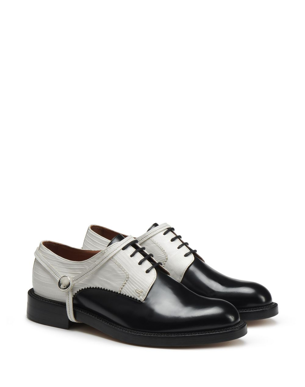 SHINY DUAL-MATERIAL DERBY SHOES - Lanvin