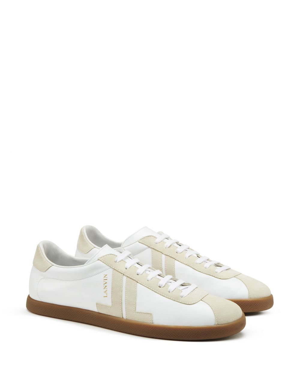 DUAL-MATERIAL JL LOW-TOP TRAINERS - Lanvin
