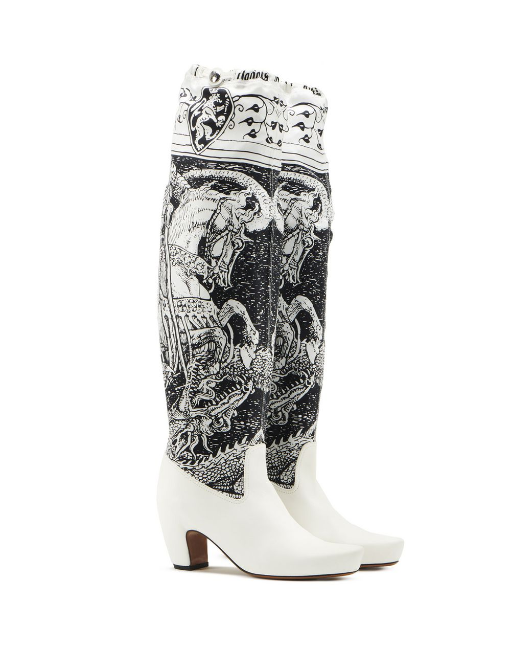 TALL BOOTS IN PRINTED LEATHER AND SILK - Lanvin