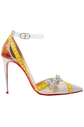 CHRISTIAN LOUBOUTIN Metripump 100 tape-trimmed patent-leather and PVC pumps