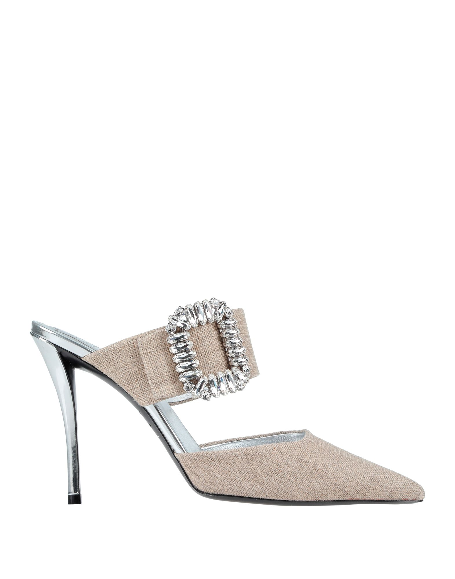 ROGER VIVIER Mules. canvas, rhinestones, solid color, narrow toeline, spike heel, leather lining, leather sole, contains non-textile parts of animal origin. Textile fibers