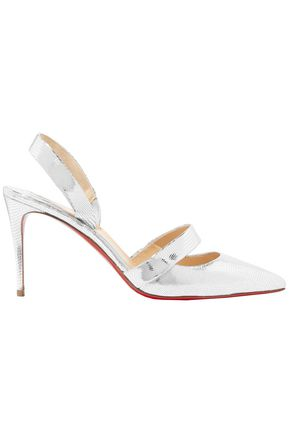 CHRISTIAN LOUBOUTIN Actina 85 metallic lizard-effect leather pumps