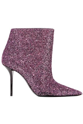 SAINT LAURENT Pierre glittered leather ankle boots