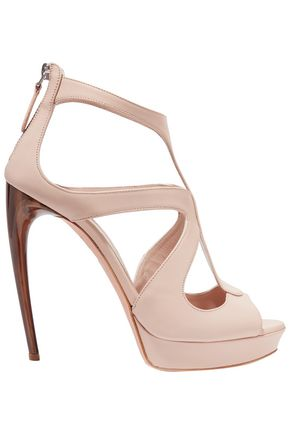 ALEXANDER MCQUEEN Cutout leather platform sandals