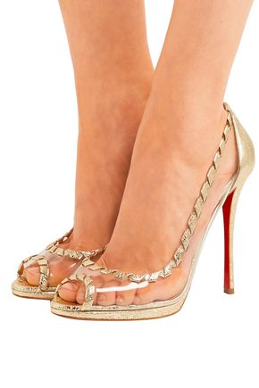 CHRISTIAN LOUBOUTIN Hargaret 120 PVC and metallic cracked-leather pumps