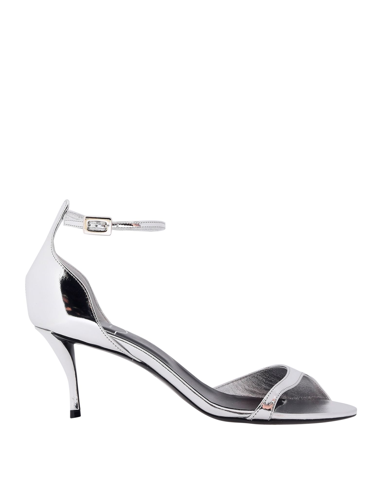 ROGER VIVIER Sandals. laminated effect, no appliqués, solid color, buckling ankle strap closure, round toeline, spool heel, covered heel, leather lining, rubber sole, contains non-textile parts of animal origin. Soft Leather