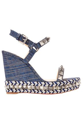CHRISTIAN LOUBOUTIN Pyraclou 110 spiked lamé wedge sandals
