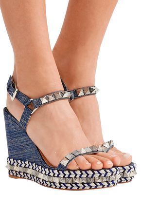 new style 57fa8 904ac Pyraclou 110 spiked lamé wedge sandals | CHRISTIAN LOUBOUTIN ...