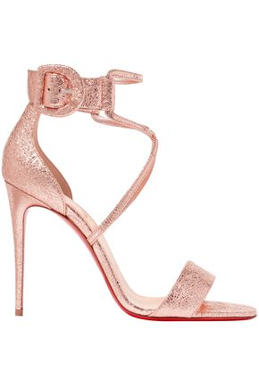 CHRISTIAN LOUBOUTIN Choca 100 metallic cracked-leather sandals