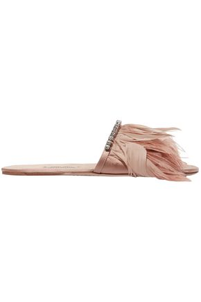 MIU MIU Feather-trimmed satin slides