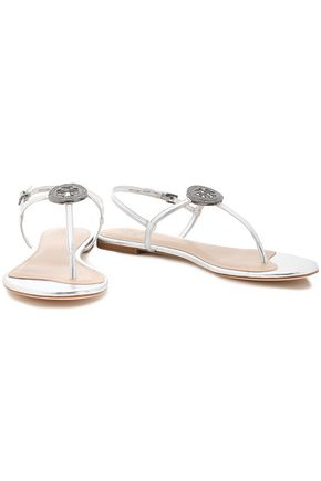 TORY BURCH Crystal-embellished metallic leather sandals