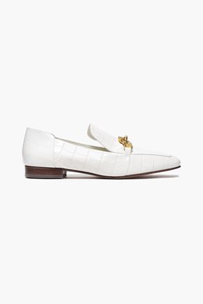 TORY BURCH Embellished croc-effect leather loafers