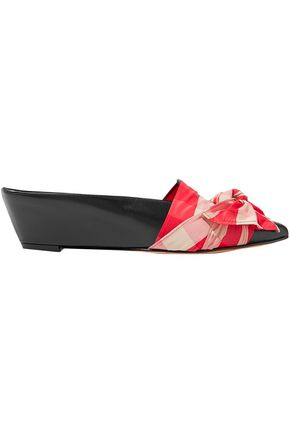 TRADEMARK Bow-embellished canvas and leather wedge slippers