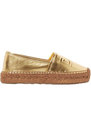 DOLCE & GABBANA Logo-embossed metallic leather espadrilles