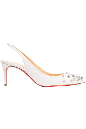 CHRISTIAN LOUBOUTIN Drama 70 studded patent-leather slingback pumps