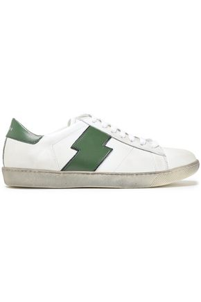 AMIRI Distressed appliquéd leather sneakers