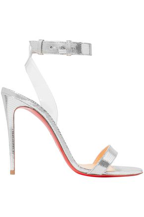 CHRISTIAN LOUBOUTIN Jonatina 100 PVC-trimmed metallic lizard-effect leather sandals