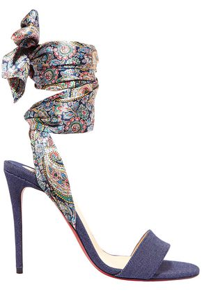 CHRISTIAN LOUBOUTIN Denim and printed satin sandals