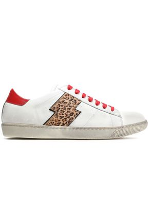 AMIRI Leopard-print calf hair-appliquéd distressed leather sneakers