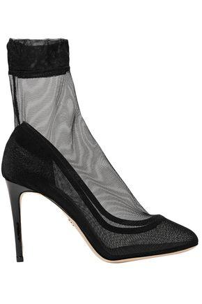 DOLCE & GABBANA حذاء بوت على شكل جوارب من التول المرن مزين بالجلد