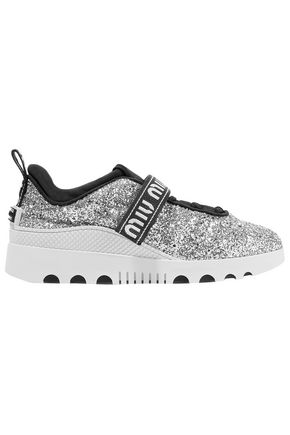 MIU MIU Logo-embroidered glittered neoprene and rubber sneakers