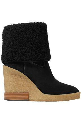 TOD'S Shearling platform ankle boots
