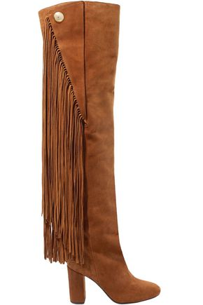 CHLOÉ Fringed suede over-the-knee boots