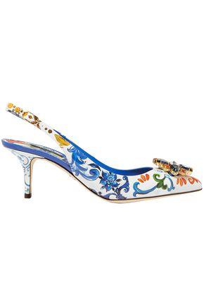 DOLCE & GABBANA Crystal-embellished printed patent-leather slingback pumps