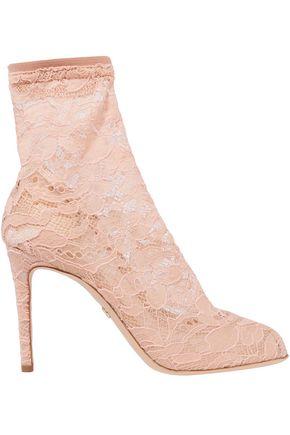 DOLCE & GABBANA حذاء بوت على شكل جوارب من التول والدانتيل المرن