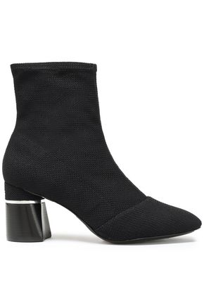 3.1 PHILLIP LIM Silver tone-trimmed stretch-knit sock boots
