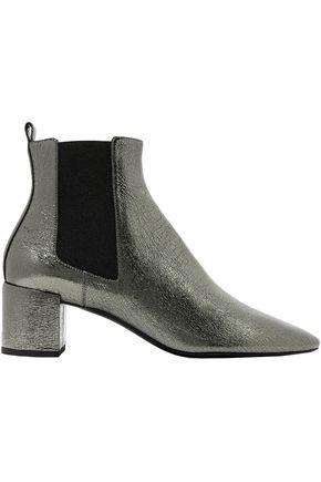 SAINT LAURENT Metallic cracked-leather ankle boots