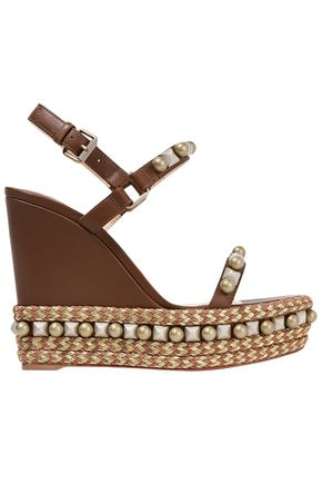 CHRISTIAN LOUBOUTIN Cataconico 120 embellished leather wedge sandals
