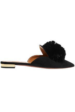 AQUAZZURA Powder Puff pompom-embellished suede slipper