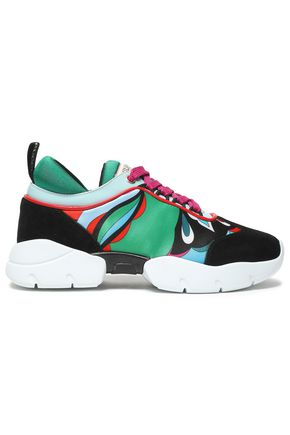 EMILIO PUCCI Printed neoprene, suede and patent-leather sneakers