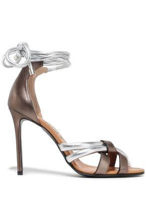 EMILIO PUCCI Metallic two-tone leather sandals