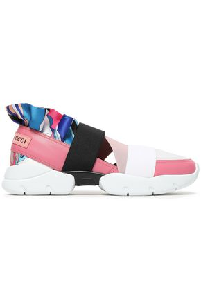 EMILIO PUCCI Ruffle-trimmed leather, mesh and satin sneakers