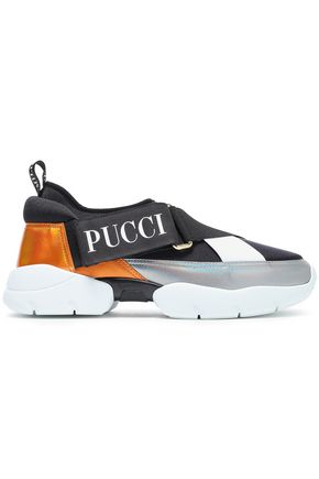 EMILIO PUCCI City color-block neoprene and iridescent leather slip-on sneakers