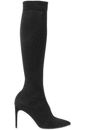 RENE' CAOVILLA Crystal-embellished cashmere-jersey over-the-knee boots