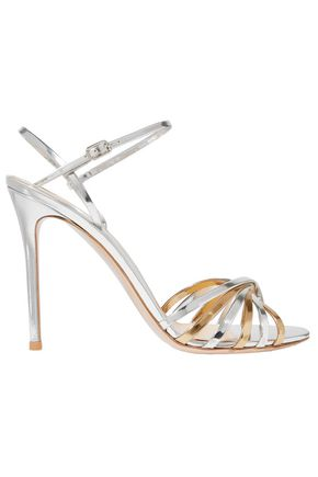 GIANVITO ROSSI 100 two-tone metallic leather sandals