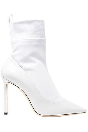 JIMMY CHOO Brandon 100 stretch-knit and leather sock boots