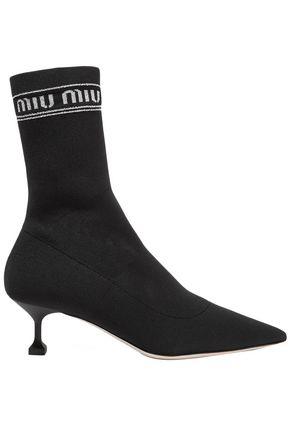 MIU MIU Logo-print metallic stretch-knit sock boots