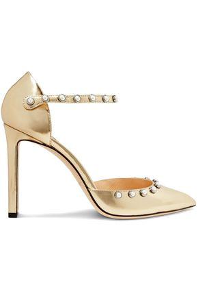 JIMMY CHOO Leema 100 faux pearl-embellished metallic leather pumps