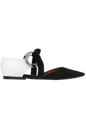 PROENZA SCHOULER Bow-detailed leather and suede point-toe flats